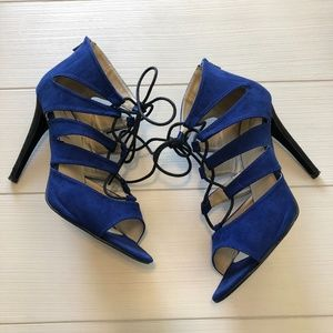 Michael Antonio Blue Suede Tie-up Heels